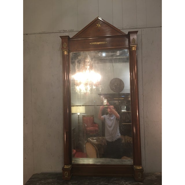French Empire Mirror With Columns and Bronze Doré Accents For Sale - Image 6 of 6