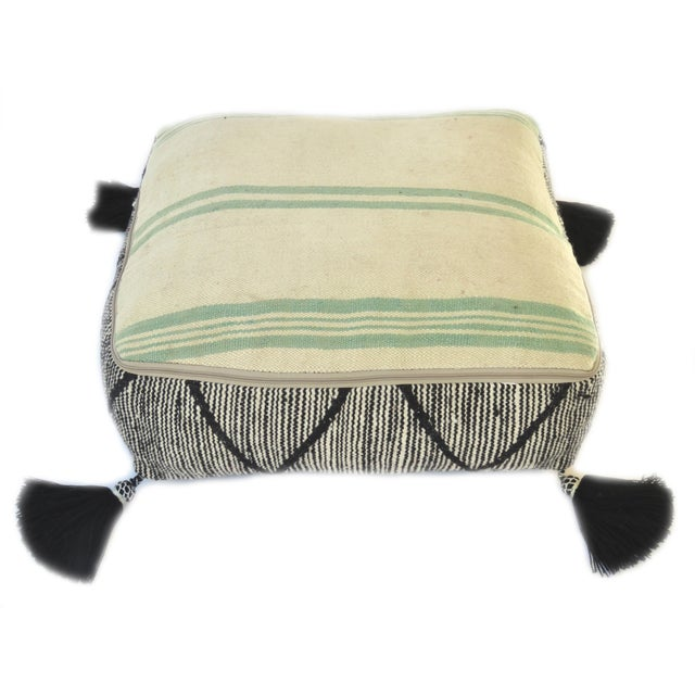 Black Black Beni Ourain Moroccan Wool Pouf For Sale - Image 8 of 9