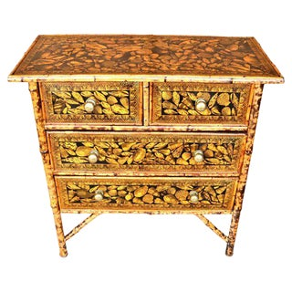 19th Century Boho Chic Bamboo Chest of Drawers For Sale
