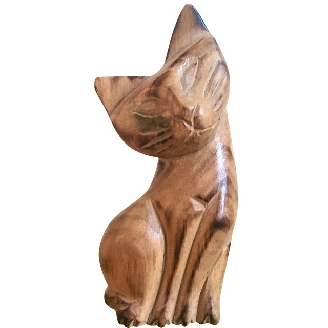 Swanky Cat - Hand Carved Wood - Image 1 of 4