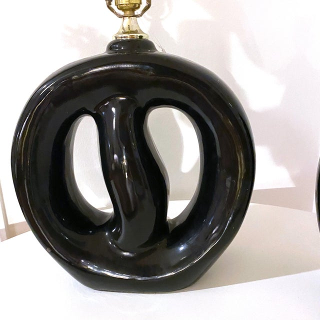 Ceramic Mid-Century Modern Black Glaze Pottery Sculptural Table Lamps - a Pair For Sale - Image 7 of 8