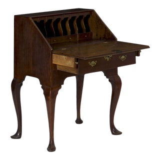 Circa 1760 George III Period Oak Slant Front Antique Desk For Sale
