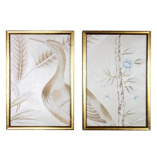 Chinoiserie Hand-Painted Crane Wallpaper Diptych Paintings - 2 Pieces For Sale