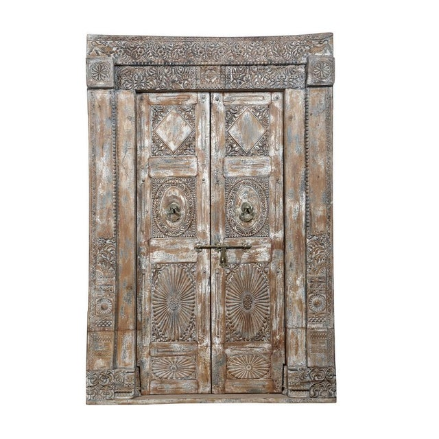 Antique Indian Teak Door and Frame From a Rajasthan Haveli For Sale - Image 6 of 6