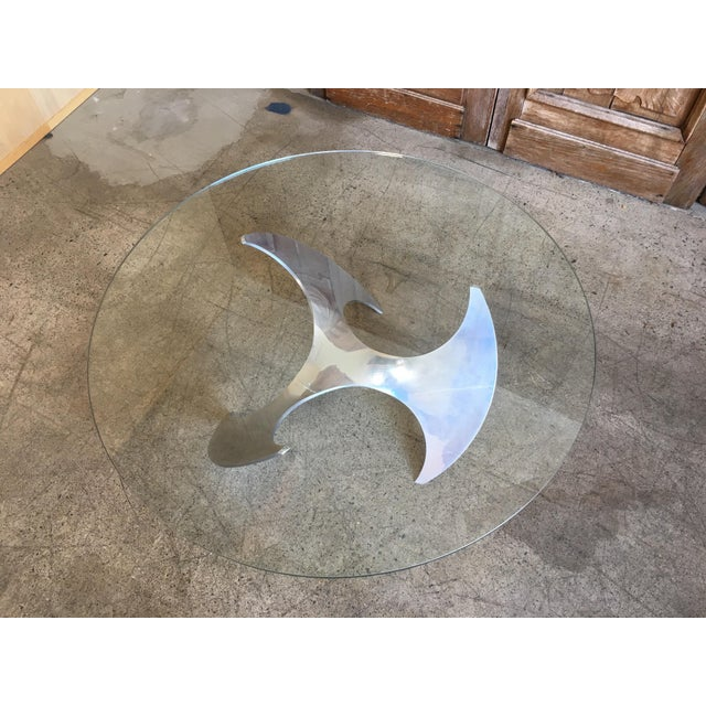 Mid-Century Modern Aluminum and Glass Propeller Table by Knut Hesterberg For Sale - Image 3 of 9