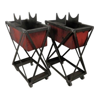 Industrial Metal Iron Planters On Casters Pair