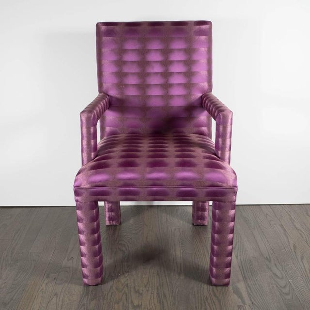 Mid-Century Modern Mid-Century Modernist Eight Dining Chairs in Amethyst and Violet Bergamo Fabric For Sale - Image 3 of 9