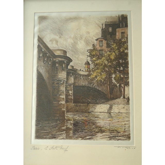 French Vintage Pont Neuf Paris Etching For Sale - Image 3 of 4
