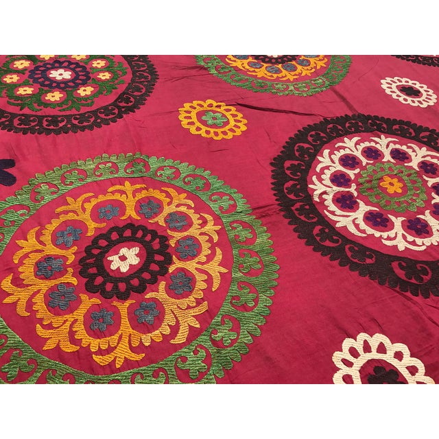 Red Handmade Suzani Tablecloth For Sale - Image 4 of 5