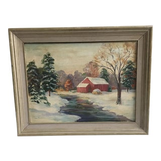Red Barn by Stream in Snowy Landscape by Brasseau For Sale