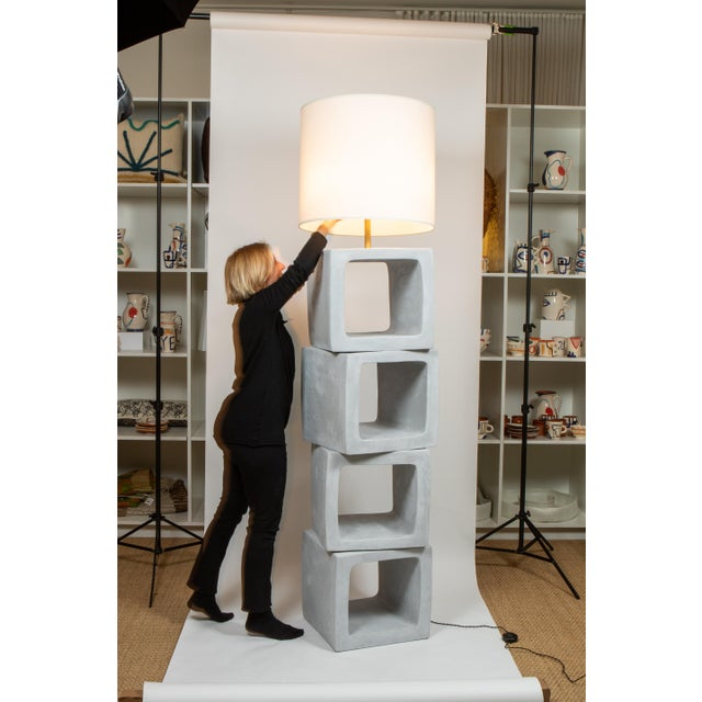 Plastered building block standing lamp, made in London.