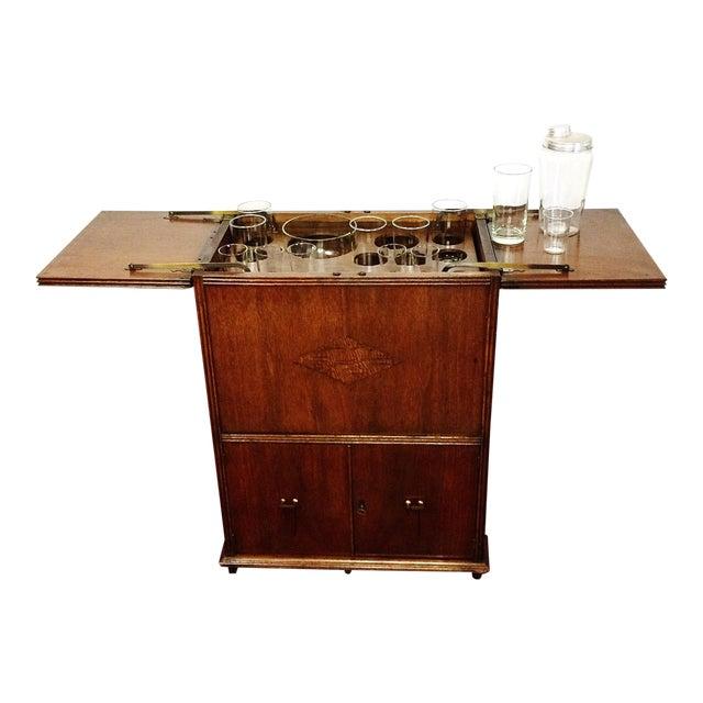 Art Deco Prohibition Era Radio Cabinet Concealed Bar Cart For Sale