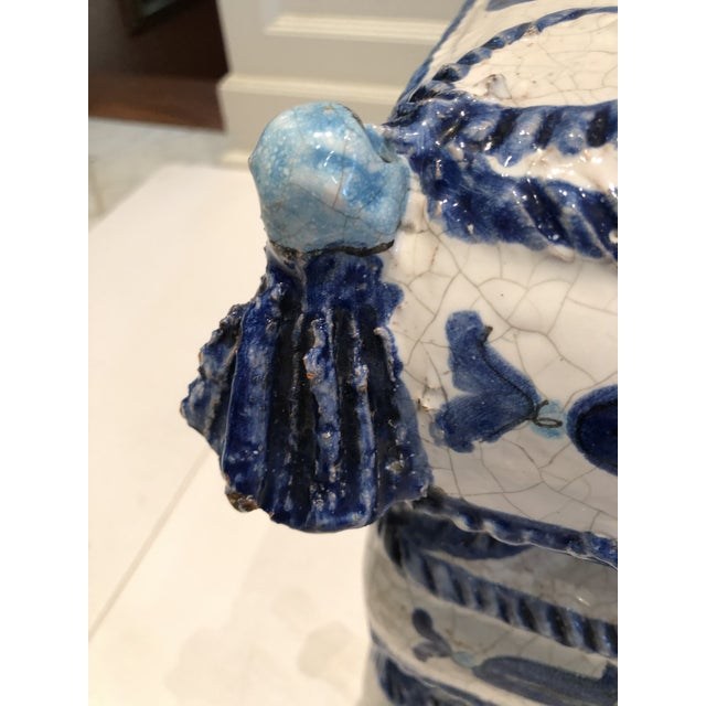 Italian Italian Blue and White Ceramic Garden Seat/Side Table For Sale - Image 3 of 12