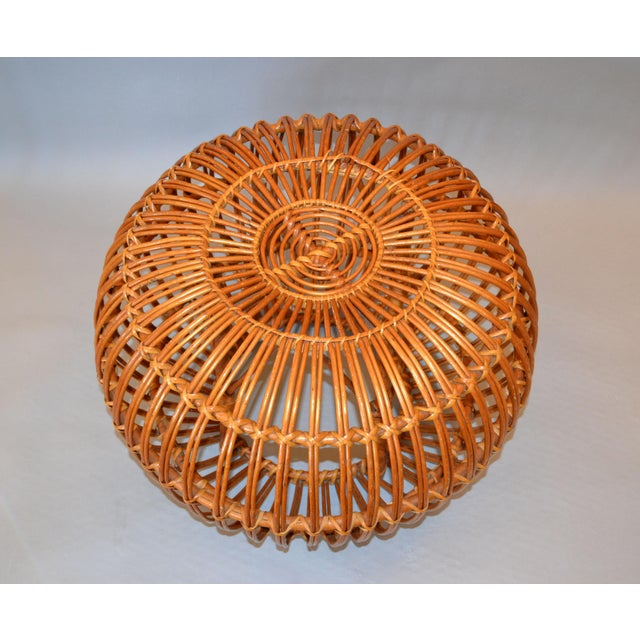 Vintage Franco Albini Hand-Woven Rattan / Wicker Ottoman Pouf For Sale - Image 11 of 12