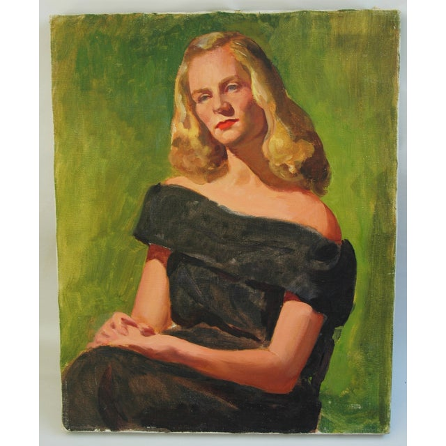 Mid-Century Lady with Golden Hair Oil Portrait - Image 3 of 7