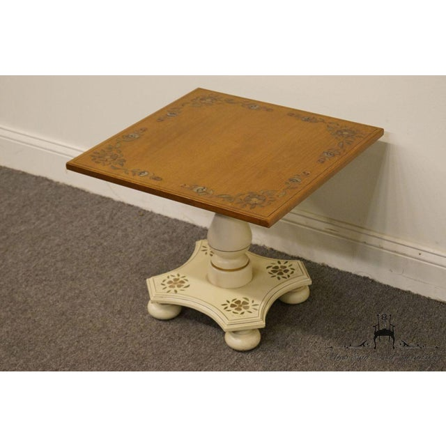 """American Ethan Allen Hitchcock Style White Stenciled 20"""" End / Accent Table For Sale - Image 3 of 13"""