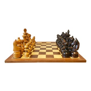Chess Set, Oversized, Hand Carved Woood For Sale