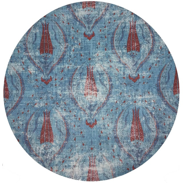 """Islamic Nicolette Mayer Byzantine Jewel Blue 16"""" Round Pebble Placemats, Set of 4 For Sale - Image 3 of 3"""