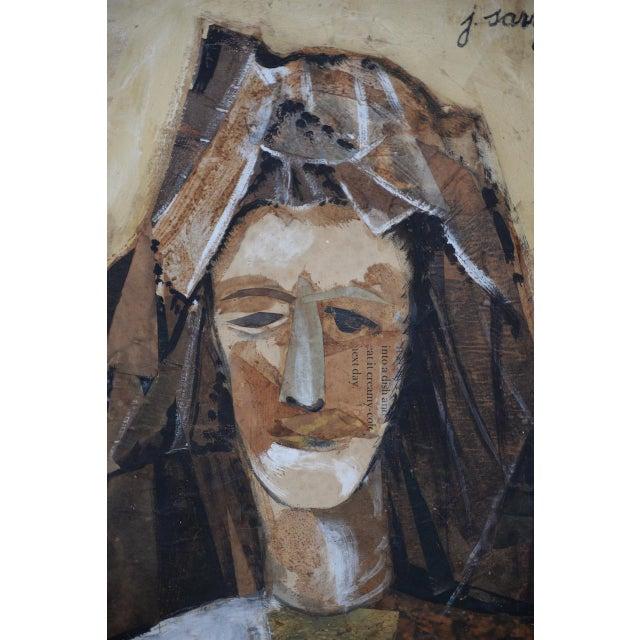 Gouache Joaquim Sarriera (Spain, 20th C.) Original Portrait Mixed Media Collage C. 1962 For Sale - Image 7 of 10