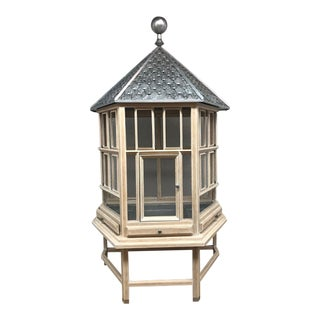 Modern English-Style Metal & Wood Bird Cage For Sale