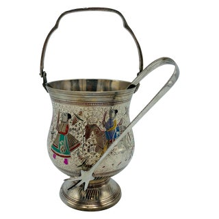 1960s Chinoiserie Metal Ice Bucket With Ornate Figural Design For Sale