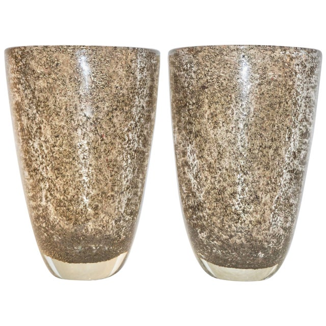 Alberto Dona Italian Bronze Color Murano Glass Vases With Brass Dust - a Pair For Sale - Image 11 of 11