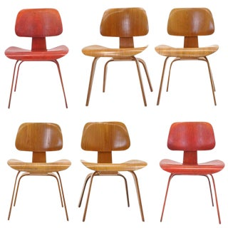 Set of Six Eames DCW's, Two Red Aniline Dyed Ash Plywood, Four Natural, Original For Sale