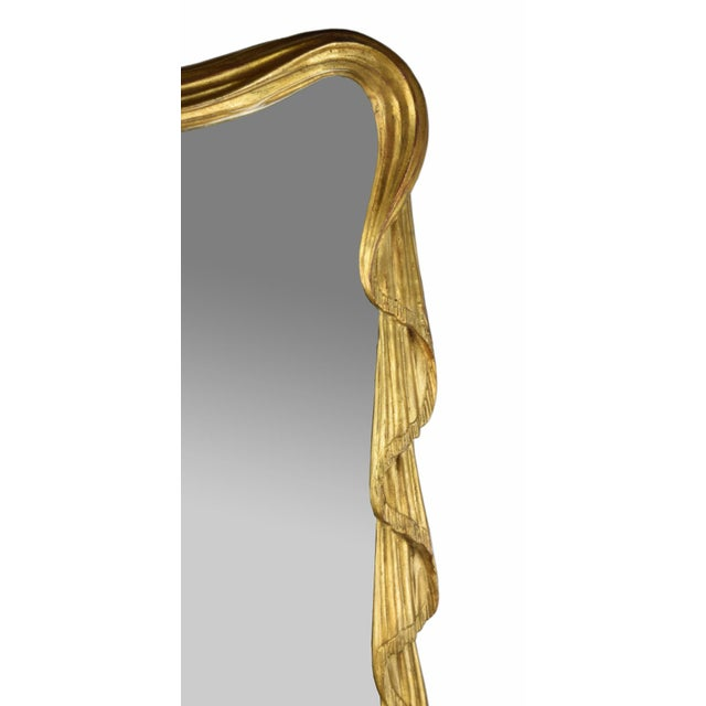 Art Deco Stephen Cavallo NYC Carved Gilt Wood Draped Fabric Swags Mirror For Sale - Image 3 of 9