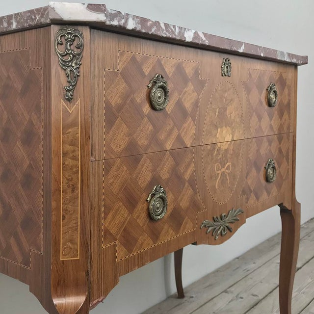 Early 20th Century Antique French Louis XVI Marquetry Marble Top Commode For Sale - Image 5 of 13