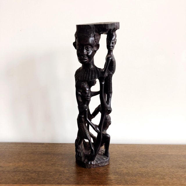 African Kenyan Onyx Wood Figure Statue For Sale - Image 3 of 10