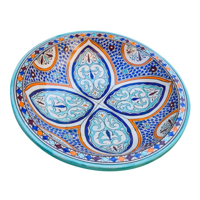 Handcrafted and glazed ceramic bowl. Features an intricate hand-painted Moorish pattern in a traditional Andalusian color...