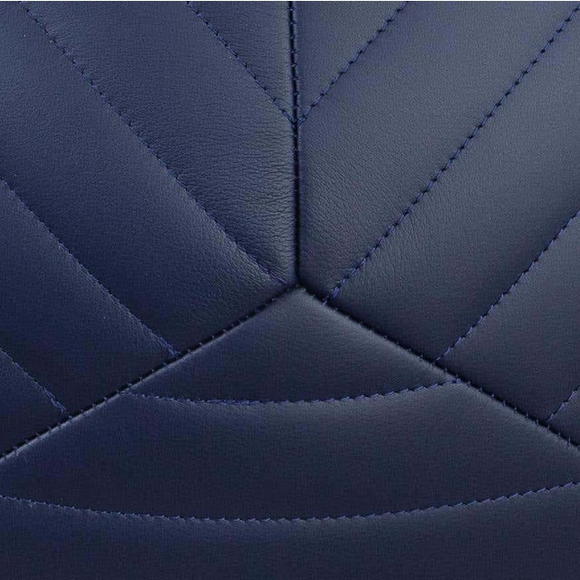Banded Ottoman in Indigo Leather by Moses Nadel For Sale - Image 4 of 7