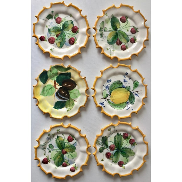 1960s 6 Italian Faience Hand-Painted Coasters For Sale - Image 5 of 10