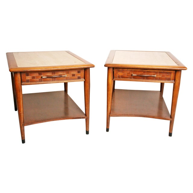 Danish Modern Wood Stone Top End Tables - Pair - Image 1 of 11