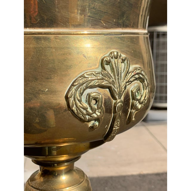 English Vintage Solid Brass Champagne Bucket and Stand For Sale - Image 3 of 6