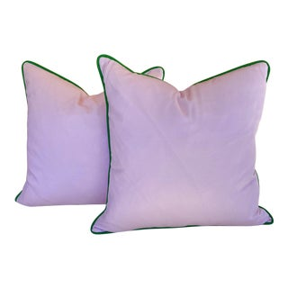 Blush Pink and Green Outdoor Pillows - a Pair For Sale