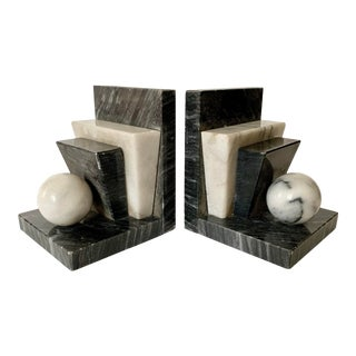 Art Deco Marble Bookends For Sale