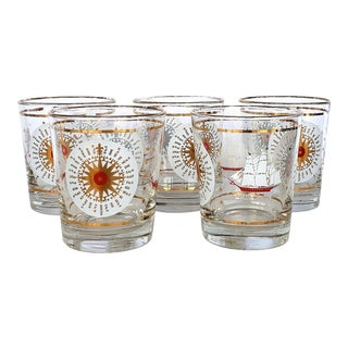 Mid-Century Modern Nautical Glasses From Libby-Set of 5 For Sale