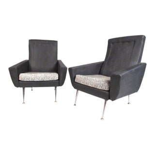Italian Modern High Back Lounge Chairs After Gio Ponti