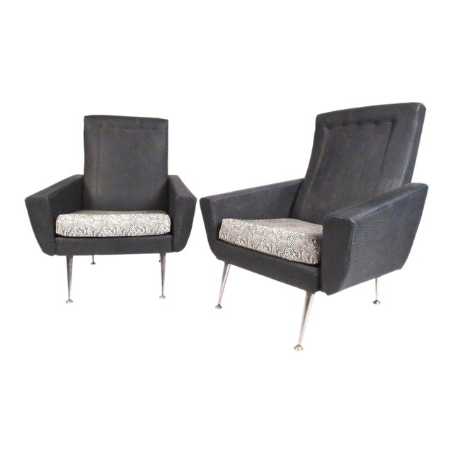 Italian Modern High Back Lounge Chairs After Gio Ponti For Sale