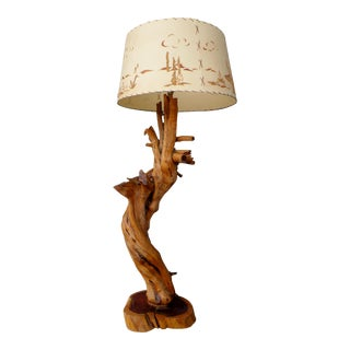 American Organic Cedar Driftwood Floor Lamp For Sale