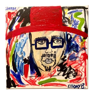 """Abstract Hat Face Painting by Ebony Boyd, """"Sammy Picasso"""" For Sale"""