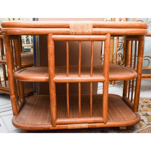 1950s Vintage Rattan & Bamboo 3 Tier Dry Bar For Sale - Image 5 of 9