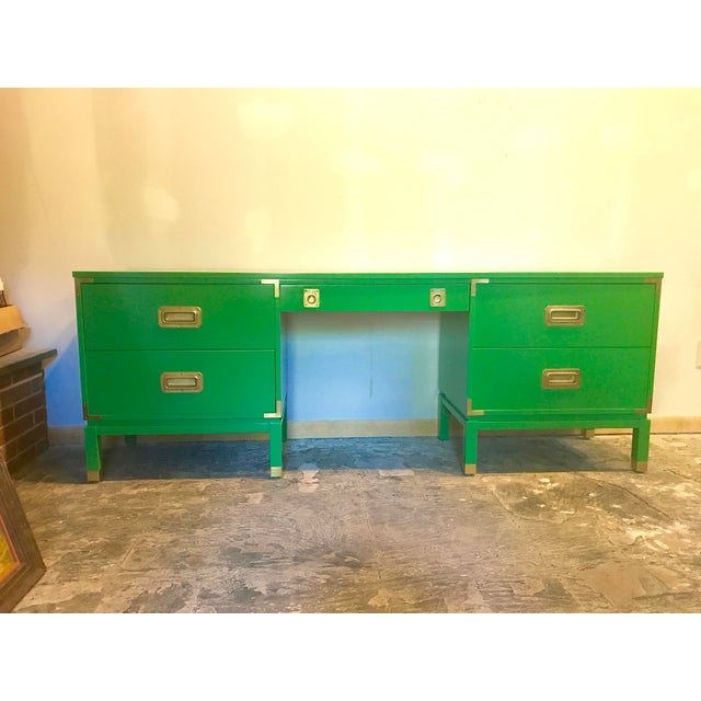 Green Lacquered Campaign Desk For Sale - Image 4 of 9