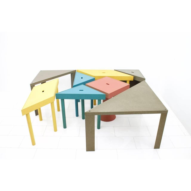 Large set of eight very rare tangram tables by Massimo Morozzi for Cassina, 1983. Measures: 2 x 84 x 42 x 73 cm (blue). 2...
