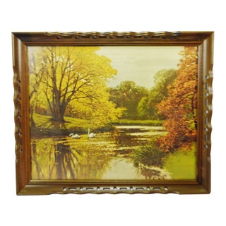 Vintage Framed Landscape Lake Scene Print For Sale