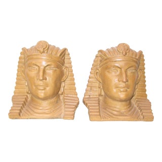 Vintage Art Deco Style Pharaoh Head Bookends - a Pair For Sale