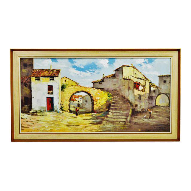 Framed European Village Scene Oil Painting - Image 11 of 11