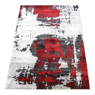 Contemporary Red Abstract Runner - 2'8''x 10'