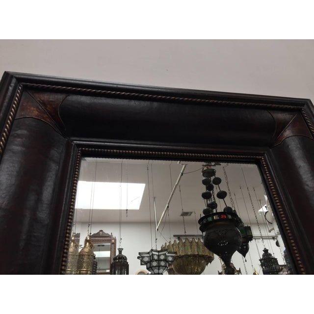 Mediterranean Leather Wrapped Mirrors, Pair For Sale - Image 3 of 11